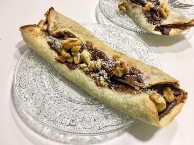 crep de pera con crema de cacao y avellana