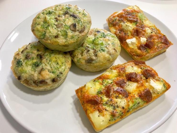 Muffins de brocoli, champiñones y atún. Y de chorizo y queso brie.