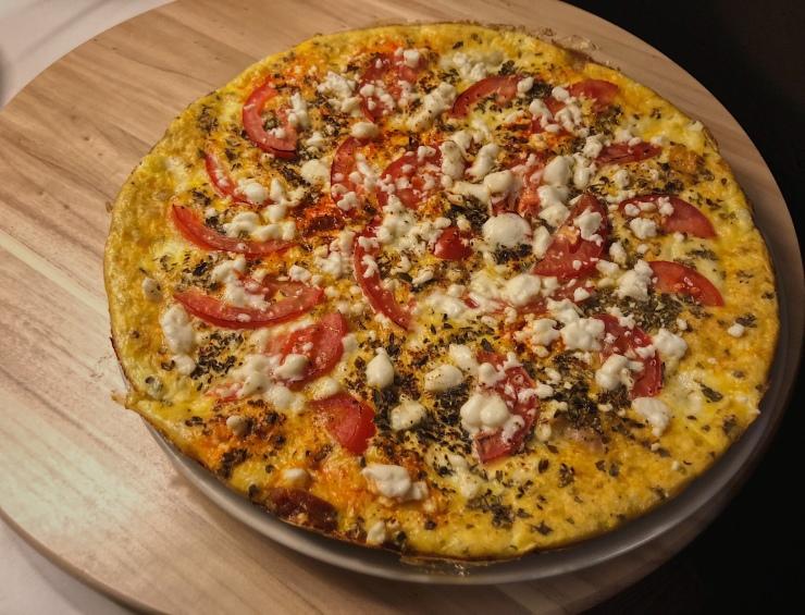 tortipizza de mozarella y tomate