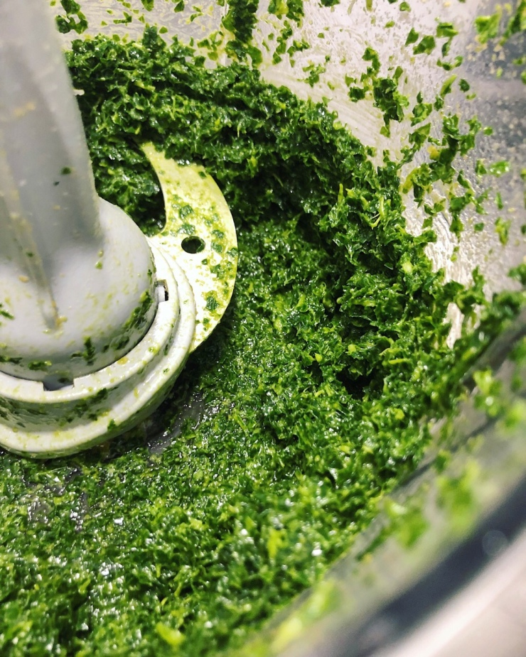 Salsa pesto de kale con crema de piñones